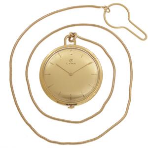 Cyma 18k Yellow Gold Slim Pocket Watch with Chain