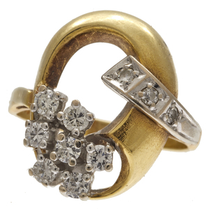 Diamond, 14k Yellow and White Gold Ring