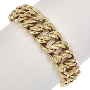 Victorian Repousse Link 14k Yellow Gold Bracelet
