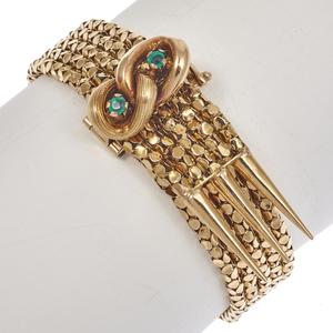 Victorian Agate, 18K Yellow Gold Slide Bracelet