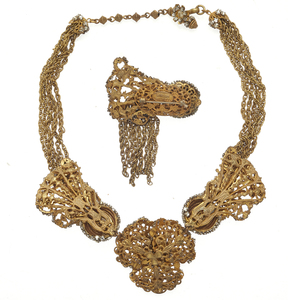 Miriam Haskell Rhinestone, Gold-Tone Necklace and Brooch