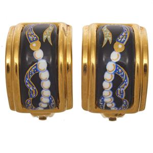Pair of Hermes Enamel Ear Clips