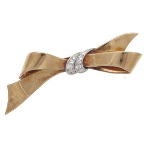 Cartier Diamond, platinum, 14k Bow Pin
