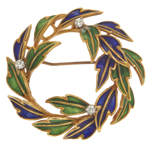Tiffany & Co. Diamond, Enamel, 18k Wreath Pin
