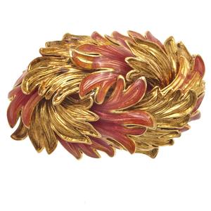 Enamel, 18k Yellow Gold Brooch