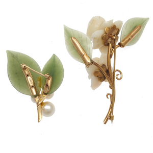 Collection of Two Gump's Nephrite, 14k Yellow Gold Pins