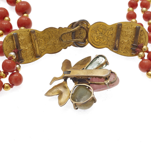 Collection of Chinese Coral, Hardstone Jewelry Items
