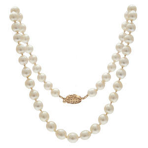 Gump's Cultured Pearl, 14k Yellow Gold Necklace