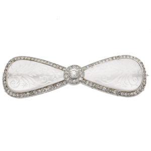 Art Deco Diamond, Rock Crystal, Platinum Bow Pin