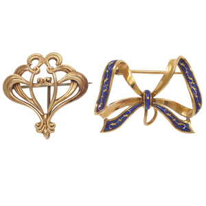 Collection of Two Victorian Yellow Gold Watch Pins