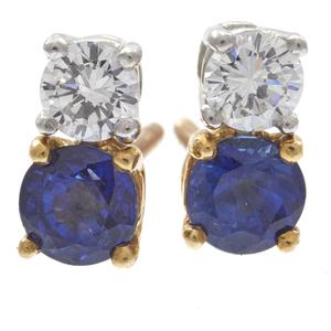 Pair of Diamond, Sapphire, 14k Yellow Gold Earrings