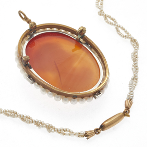 Hardstone Cameo with Victorian Seed Pearl Necklace