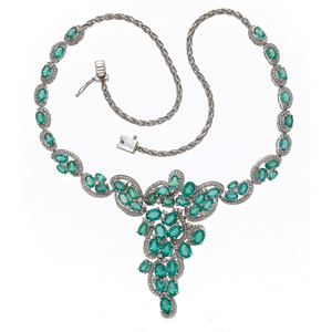 M. Christoff Emerald, Diamond, 18k White Gold Necklace