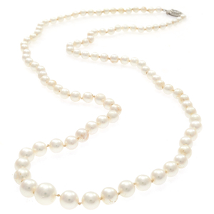 Cultured Pearl, Diamond, Platinum Necklace