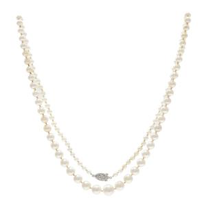 Cultured Pearl, Diamond, Platinum Necklace