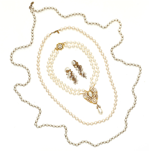 Group of Miriam Haskell Faux Pearl Necklaces and Earrings
