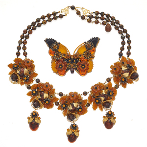 Stanley Hagler Beaded Necklace and Butterfly Brooch