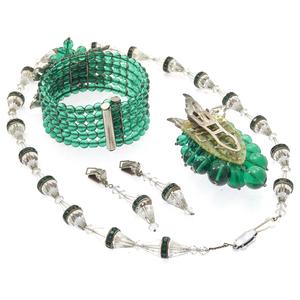 Collection of Art Deco Glass, Rhinestone Jewelry