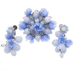 Miriam Haskell Blue Glass Jewelry Suite