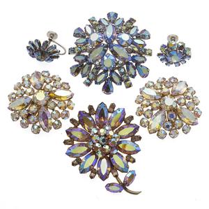 Group of Vintage Sherman Rhinestone Pins and Earrings