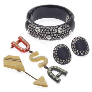 Collection of Rhinestone, Bakelite Jewelry Items