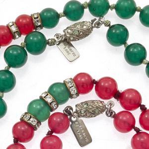 Two Kenneth Jay Lane Glass, Rhinestone Necklaces