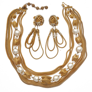 Miriam Haskell Faux Pearl Necklace and Pair of Ear Clips