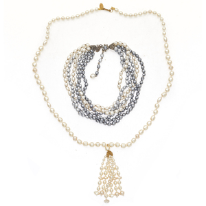 Two MIriam Haskell Faux Pearl Necklaces
