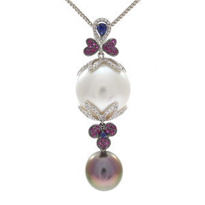 South Sea Pearl, Diamond, Sapphire, 18k Necklace