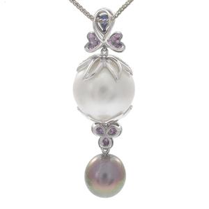 South Sea Pearl, Diamond, Sapphire, 18k Necklace
