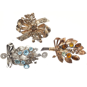 Collection of Hobe 1940s Sterling Silver Brooches