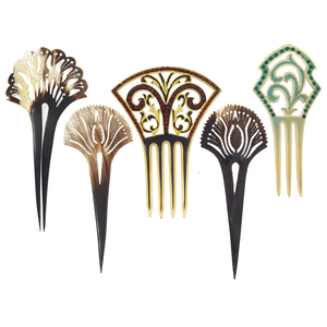 Collection of Five Vintage Celluloid Hair Combs