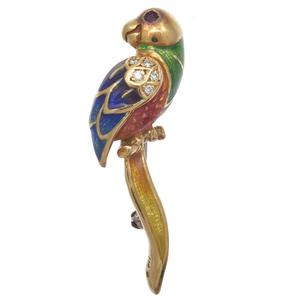 Diamond, Ruby, Enamel, 18k Parrot Pin