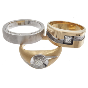 Collection of Three Gent's Diamond, 14k Rings