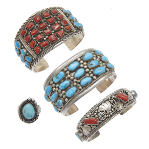 Collection of Native American Turquoise, Coral, Sterling Silver Jewelry