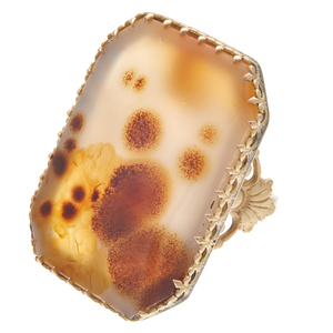 Dendritic Agate, 14k, 10k Yellow Gold Ring