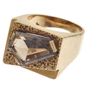Gent's Smoky Quartz, 14k Yellow Gold Ring