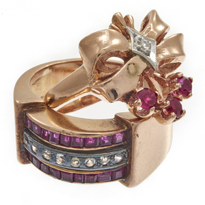 Collection of Two Retro 14k Rose Gold Rings