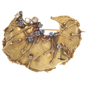Diamond, Aquamarine, 18k Yellow Gold Brooch