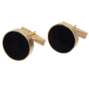 Pair of Black Onyx, 14k Yellow Gold Cufflinks