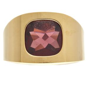 Gent's Garnet, 18k Yellow Gold Ring