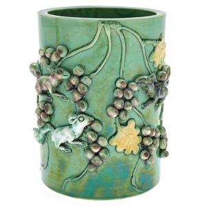 Green Glazed Brush Pot