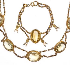 Antique Citrine, Silver Gilt Jewelry Suite