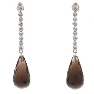 Pair of Diamond, Smoky Quartz, 14k White Gold Earrings