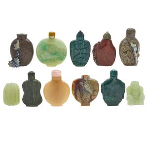 Eleven Hardstone Snuff Bottles