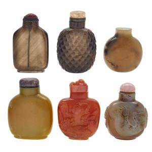 Six Hardstone Snuff Bottles