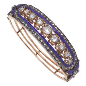 Early Victorian Diamond, Enamel, 14k, Silver Bracelet