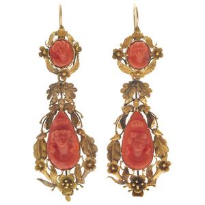 Pair of Georgian Coral Cameo, Yellow Gold Earrings