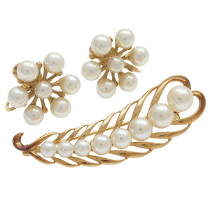 Mikimoto Cultured Pearl, 14k Pin and Ear Clips