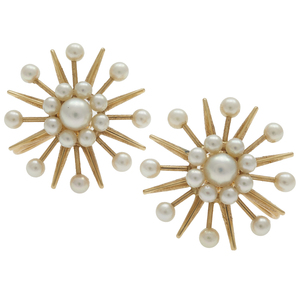 Pair of Fisher & Co. Modernist Pearl, 14k Ear Clips